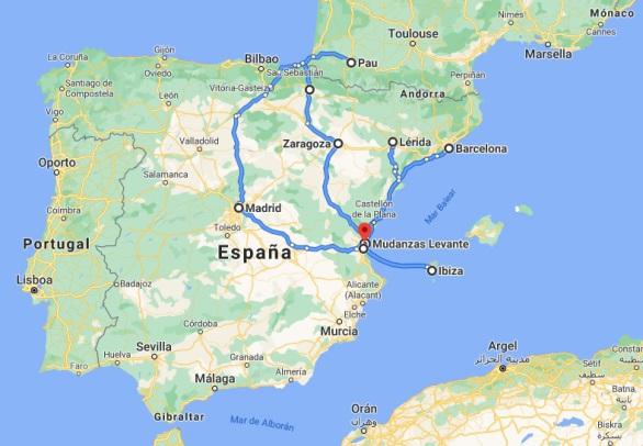 Rutas previstas mes de Julio 2020 Mudanzas Levante